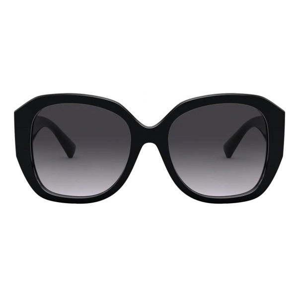 Valentino - Squared Acetate Frame with Vlogo Signature Sunglasses - Black - Valentino Eyewear
