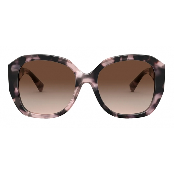 Valentino - Squared Acetate Frame with Vlogo Signature Sunglasses - Havana Brown - Valentino Eyewear