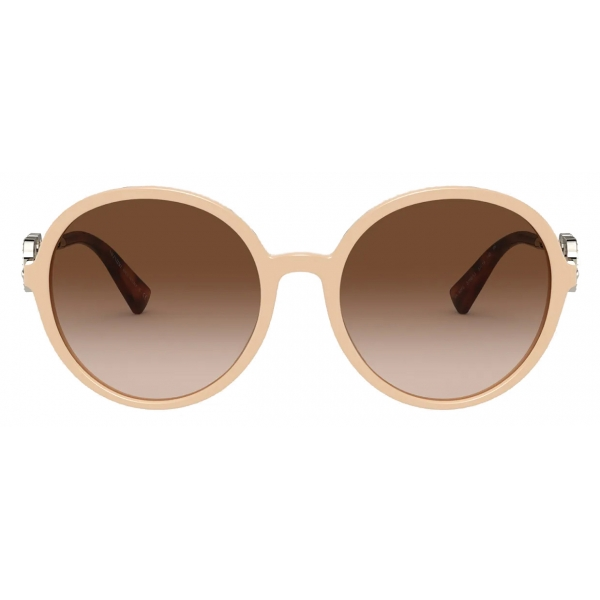 Valentino - Round Acetate Frame with Vlogo Signature Crystals Sunglasses - Beige Brown - Valentino Eyewear