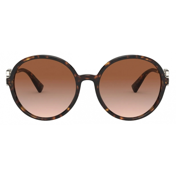 Valentino - Round Acetate Frame with Vlogo Signature Crystals Sunglasses - Havana Brown - Valentino Eyewear