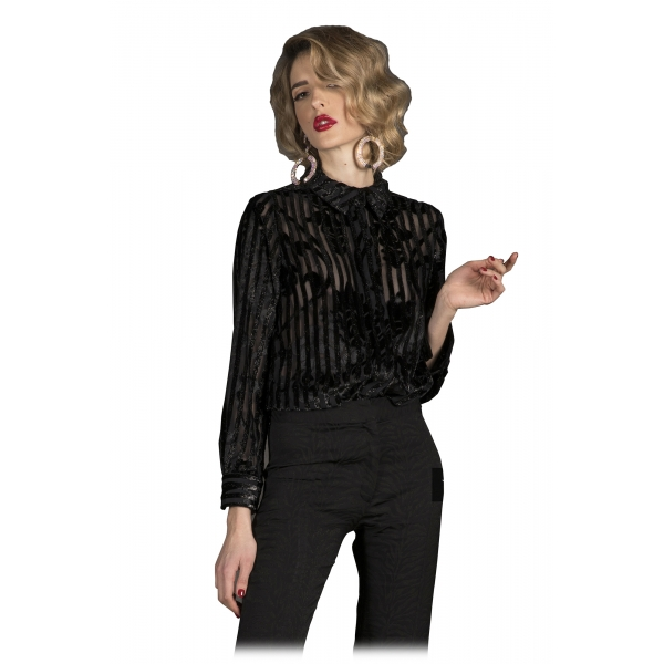 Danilo Forestieri - Camicia Manica Lunga in Velluto Devorè - Camicia - Haute Couture Made in Italy - Luxury Exclusive Collection