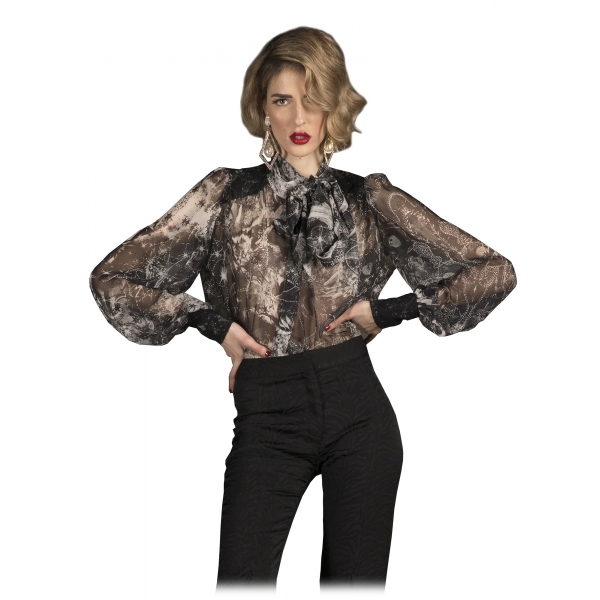Danilo Forestieri - Long Sleeve Shirt in Printed Silk Georgette - Haute Couture Made in Italy - Luxury Exclusive Collection