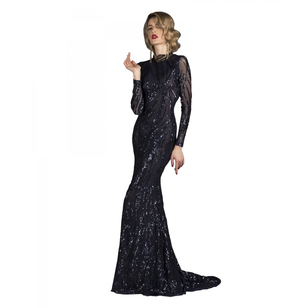 Danilo Forestieri - Long Mermaid Long Sleeve Dress - Haute Couture Made in Italy - Luxury Exclusive Collection