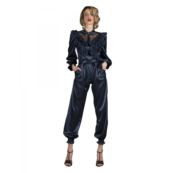 Danilo Forestieri - High-Waisted Silk Trousers - Haute Couture Made in Italy - Luxury Exclusive Collection