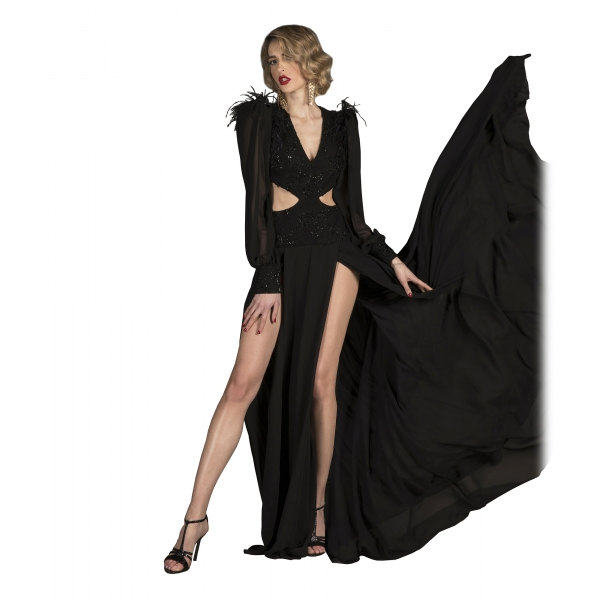 Danilo Forestieri - Long Maxi Dress in Silk Chiffon - Haute Couture Made in Italy - Luxury Exclusive Collection