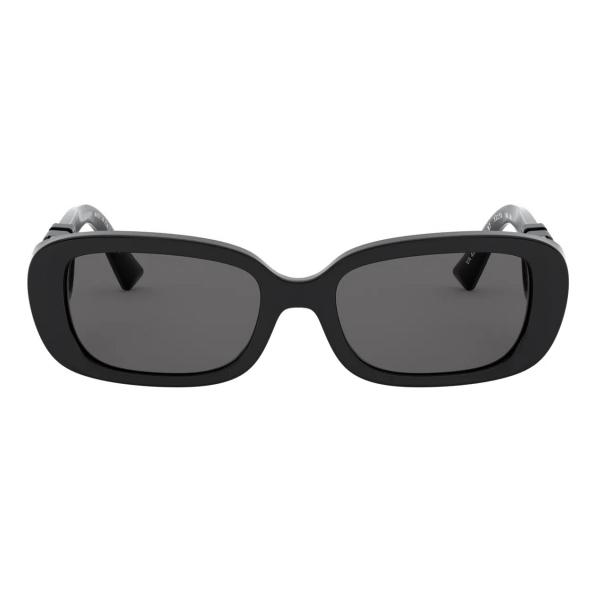 Valentino - Occhiale da Sole Ovale in Acetato con Vlogo - Nero - Valentino Eyewear