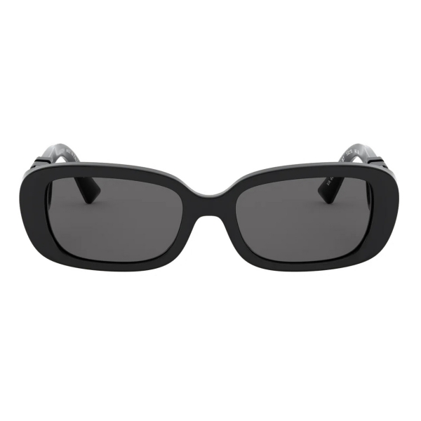 Valentino - Oval Acetate Frame with Vlogo Sunglasses - Black - Valentino Eyewear