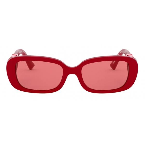 Valentino - Occhiale da Sole Ovale in Acetato con Vlogo - Rosso - Valentino Eyewear
