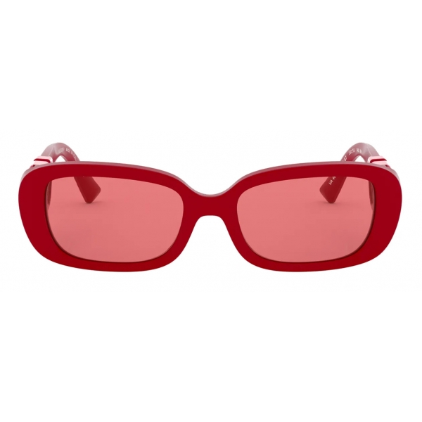 Valentino - Oval Acetate Frame with Vlogo Sunglasses - Red - Valentino Eyewear