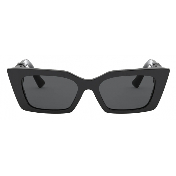Valentino - Acetate Frame with Vlogo Crystals Sunglasses - Black - Valentino Eyewear