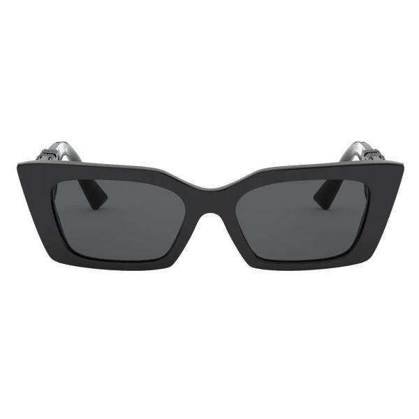Valentino - Occhiale da Sole in Acetato con Vlogo Cristalli - Nero - Valentino Eyewear