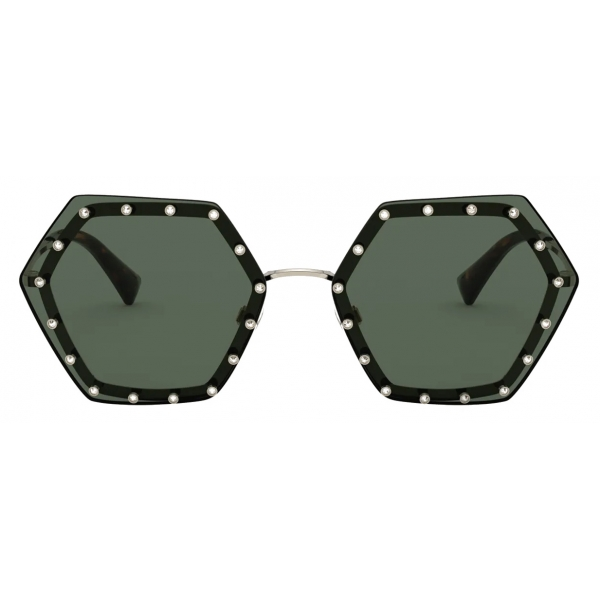 Valentino - Hexagonal Metal Frame with Crystal Studs Sunglasses - Gold Green - Valentino Eyewear