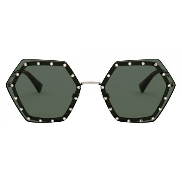 Valentino - Occhiale da Sole Esagonale in Metallo con Cristalli - Oro Verde - Valentino Eyewear