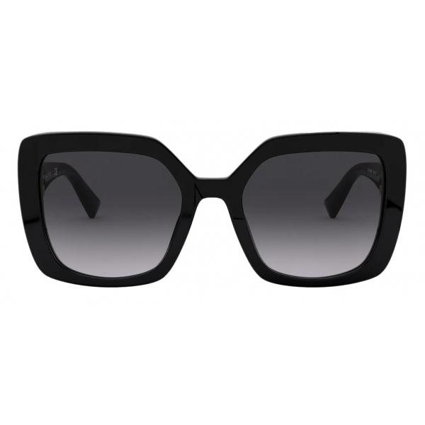 Valentino - Occhiale da Sole Squadrato in Acetato con Vlogo - Nero - Valentino Eyewear
