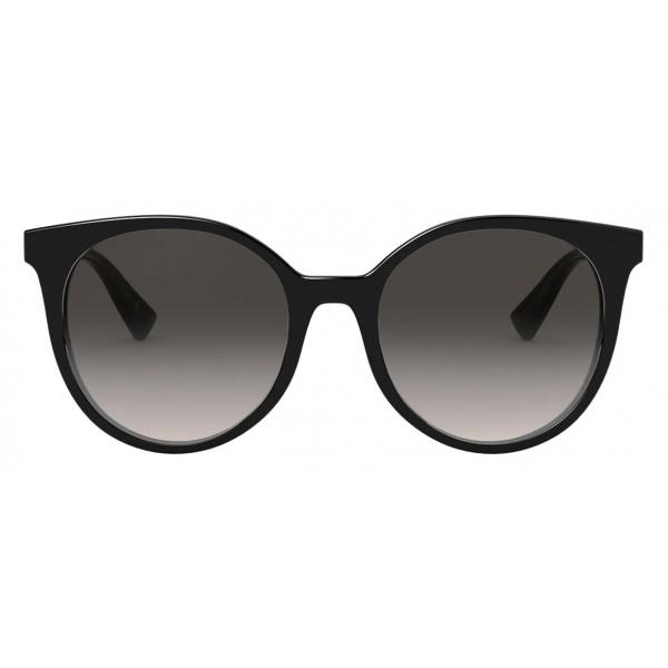 Valentino - Occhiale da Sole Rotondo in Acetato con Stud Funzionale - Nero - Valentino Eyewear