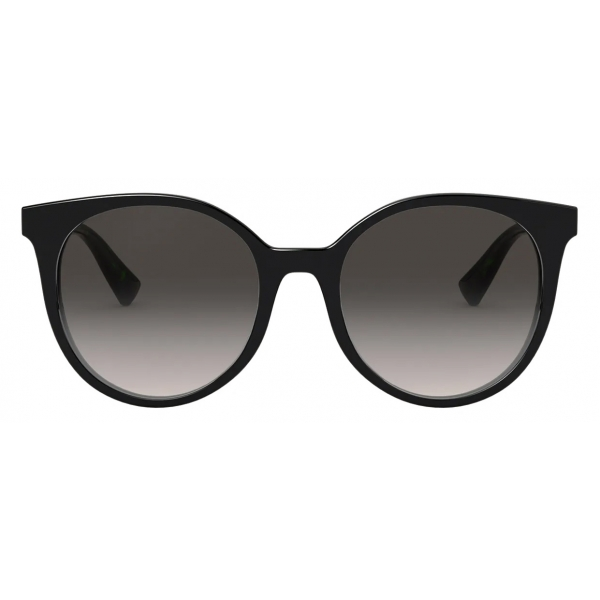 Valentino - Round Acetate Frame with Functional Stud Sunglasses - Black - Valentino Eyewear
