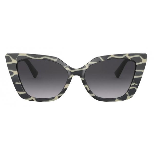 Valentino - Occhiale da Sole Cat-Eye in Acetato Vlogo - Nero - Valentino Eyewear