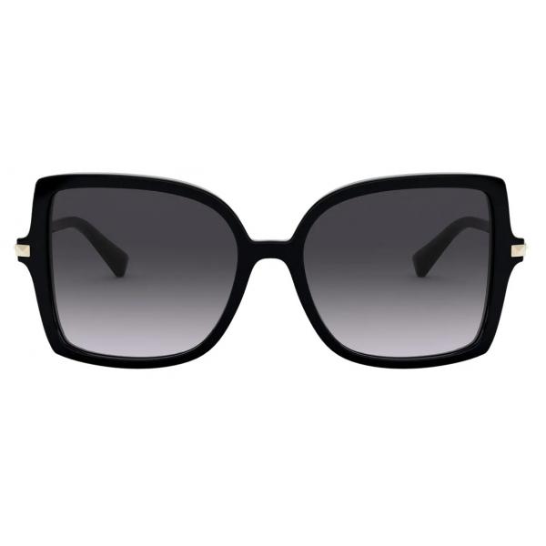 Valentino - Occhiale da Sole Squadrato in Acetato Stud - Nero - Valentino Eyewear