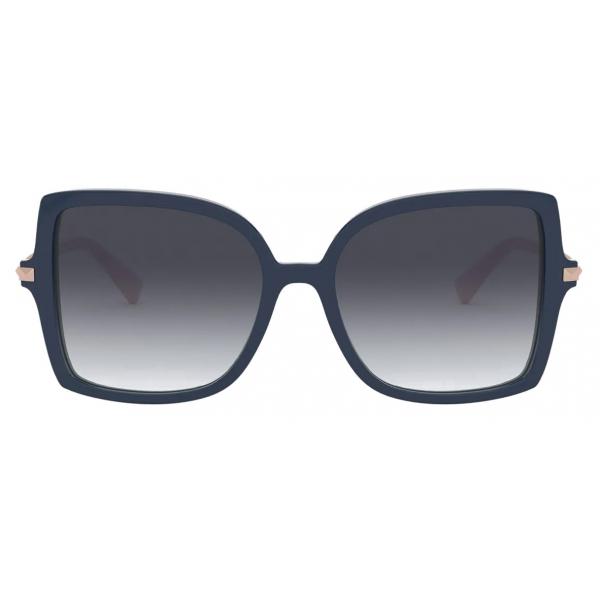 Valentino - Occhiale da Sole Squadrato in Acetato Stud - Blu Grigio - Valentino Eyewear