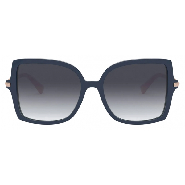 Valentino - Squared Acetate Frame with Studs Sunglasses - Blue Gray - Valentino Eyewear