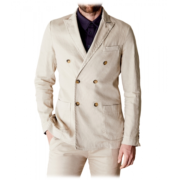 Cruna - Chelsea Linen Jacket - 540 - Ecru - Handmade in Italy - Luxury High Quality Jacket