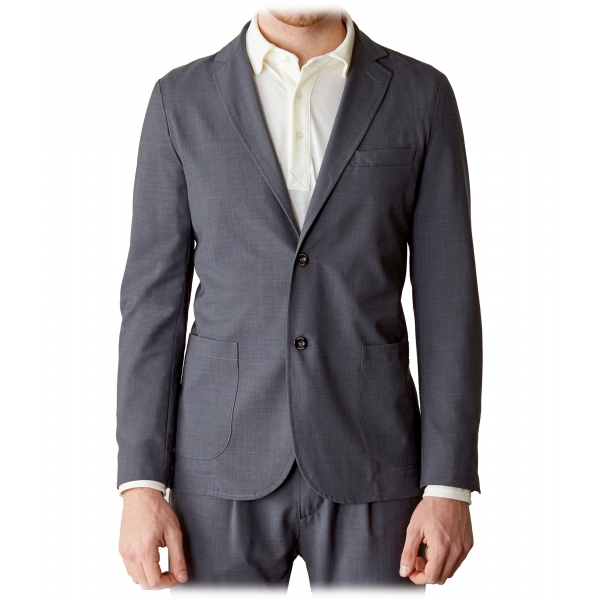 Cruna - Chelsea Fresh Wool Jacket - 560 - Medium Grey - Handmade in Italy - Luxury High Quality Jacket