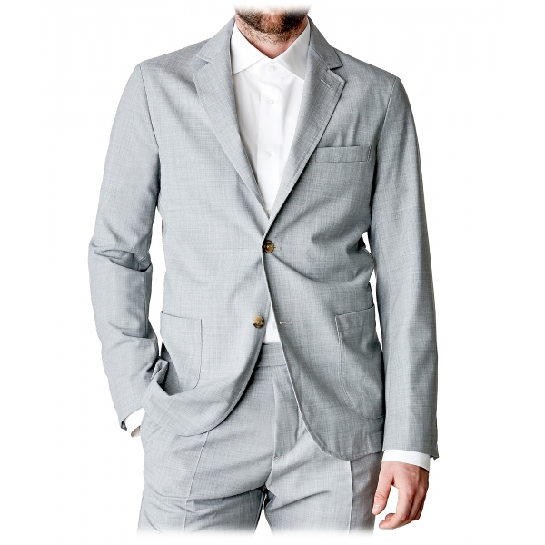 Cruna - Chelsea Fresh Wool Jacket - 560 - Light Grey - Handmade in Italy - Luxury High Quality Jacket