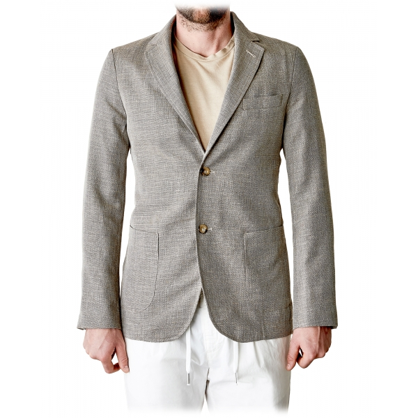 Cruna - Chelsea Linen Jacket - 556 - Terra - Handmade in Italy - Luxury High Quality Jacket