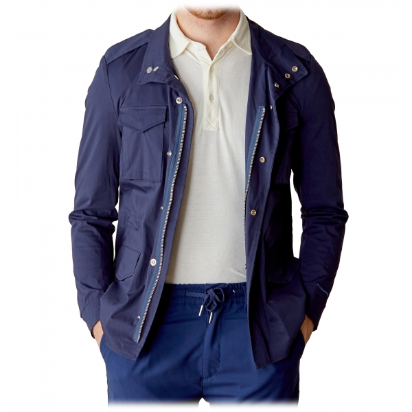 Cruna - Cotton Field Jacket - 566 - Navy - Handmade in Italy - Luxury High Quality Jacket