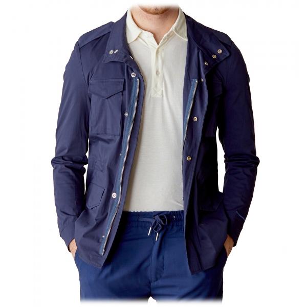 Cruna - Field Jacket in Cotone - 566 - Navy - Handmade in Italy - Giacca di Alta Qualità Luxury