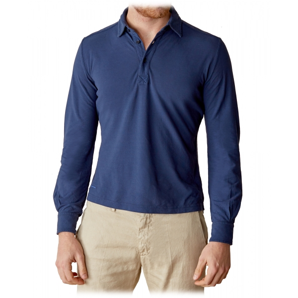 Cruna - Cannes Long Sleeves Polo - 573 - Navy - Handmade in Italy - Luxury High Quality Sweatshirt
