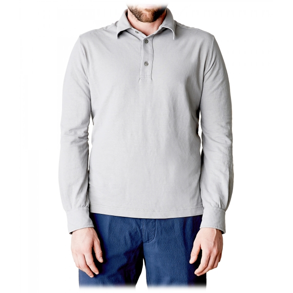 Cruna - Cannes Long Sleeves Polo - 573 - Grey - Handmade in Italy - Luxury High Quality Sweatshirt