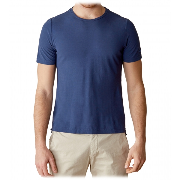 Cruna - T-Shirt Nizza - 573 - Blu - Handmade in Italy - T-Shirt di Alta Qualità Luxury