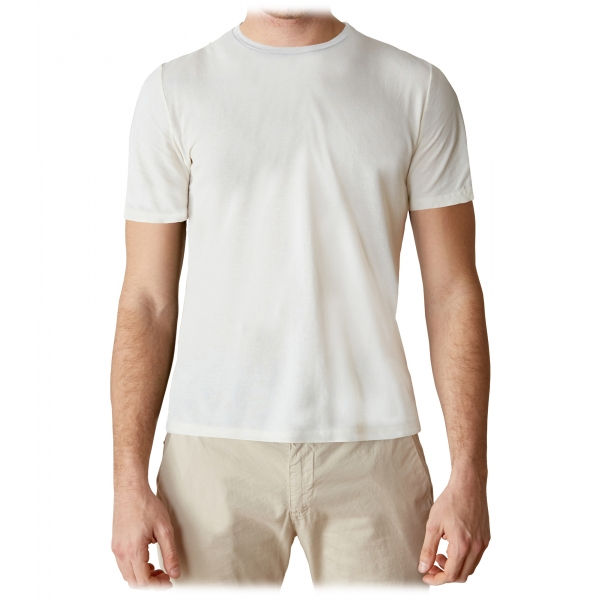 Cruna - Nizza T-Shirt - 573 - Off White - Handmade in Italy - Luxury High Quality T-Shirt