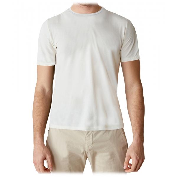 Cruna - T-Shirt Nizza - 573 - Off White - Handmade in Italy - T-Shirt di Alta Qualità Luxury