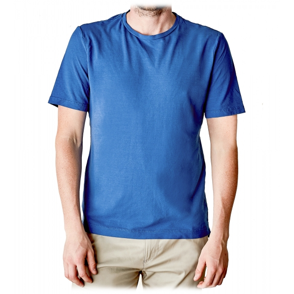 Cruna - Nizza T-Shirt - 573 - Royal Blue - Handmade in Italy - Luxury High Quality T-Shirt