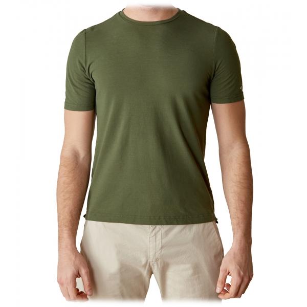 Cruna - T-Shirt Nizza - 573 - Army - Handmade in Italy - T-Shirt di Alta Qualità Luxury