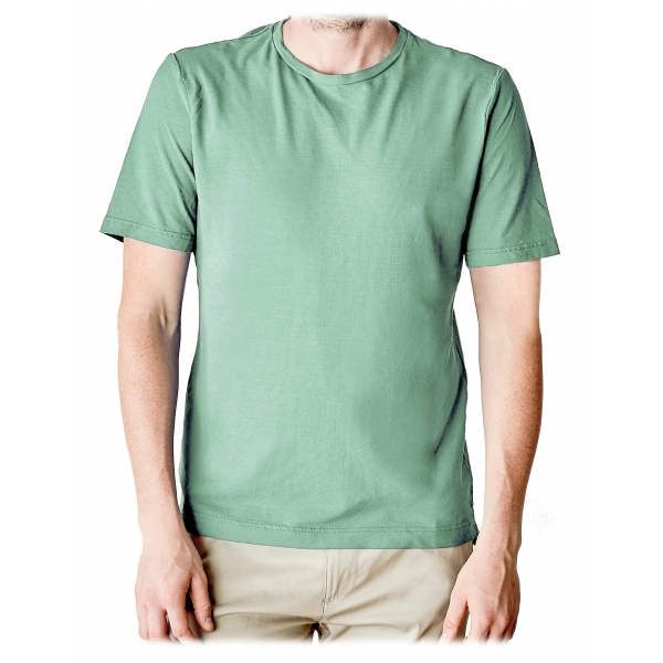 Cruna - T-Shirt Nizza - 573 - Verde - Handmade in Italy - T-Shirt di Alta Qualità Luxury