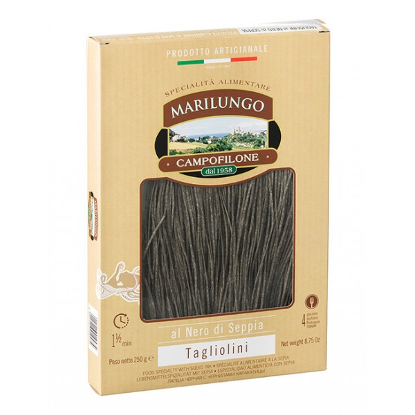Pasta Marilungo - Tagliolini at Black of Cuttlefish - Food Specialties - Pasta of Campofilone