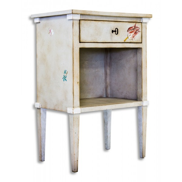 Porte Italia Interiors - Nightstand - Lombardia Nightstand with Drawer and Shelf