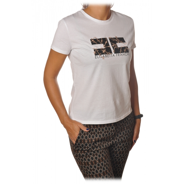 Elisabetta Franchi - Short Sleeve Round Neck T-Shirt - Chalk - T-Shirt - Made in Italy - Luxury Exclusive Collection
