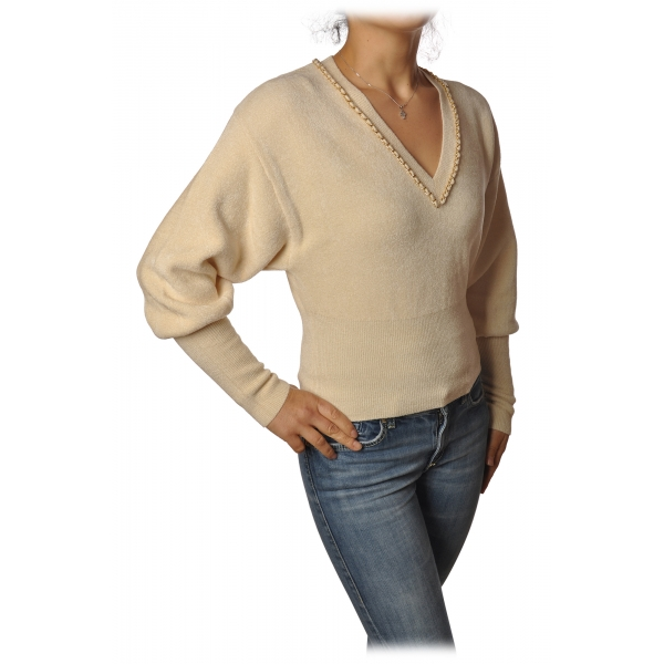 Elisabetta Franchi - Short Long Sleeve Sweater - Butter - Sweater - Made in Italy - Luxury Exclusive Collection