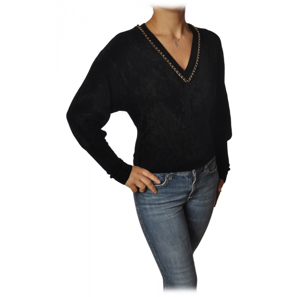Elisabetta Franchi - Short Long Sleeve Sweater - Black - Sweater - Made in Italy - Luxury Exclusive Collection