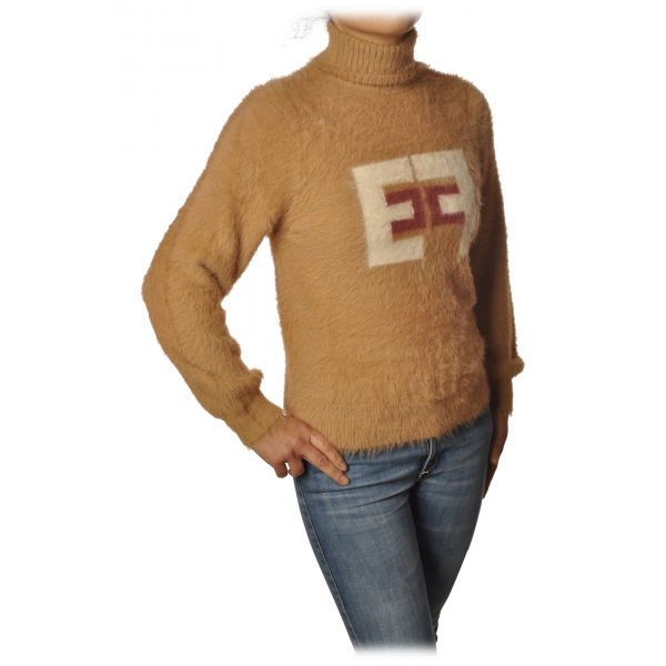Elisabetta Franchi - Short Sweater High Collar - Champagne Terra - Sweater - Made in Italy - Luxury Exclusive Collection