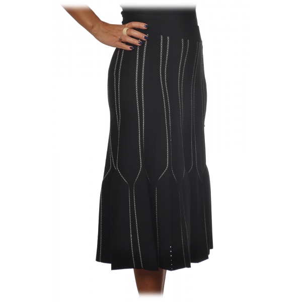 Elisabetta Franchi - High Skirt Elastic Waistband - Black Butter - Skirt - Made in Italy - Luxury Exclusive Collection