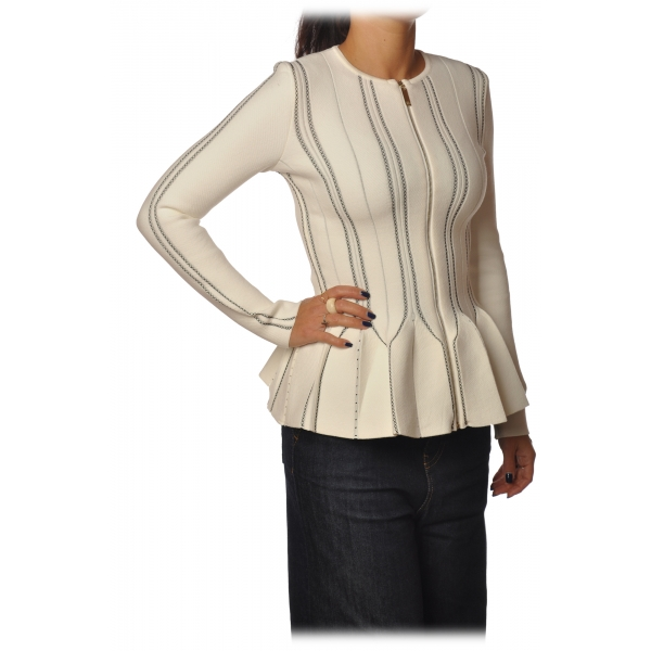 Elisabetta Franchi - Long Sleeve Screwed - Butter Black - Jacket - Made in Italy - Luxury Exclusive Collection