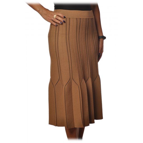 Elisabetta Franchi - High Skirt Elastic Waistband - Mou Black - Skirt - Made in Italy - Luxury Exclusive Collection