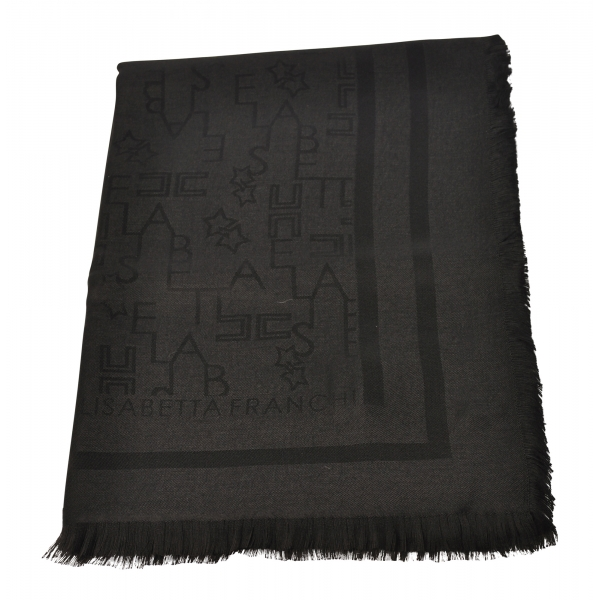 Elisabetta Franchi - Square Pashmina Stole - Black - Scarves - Made in Italy - Luxury Exclusive Collection