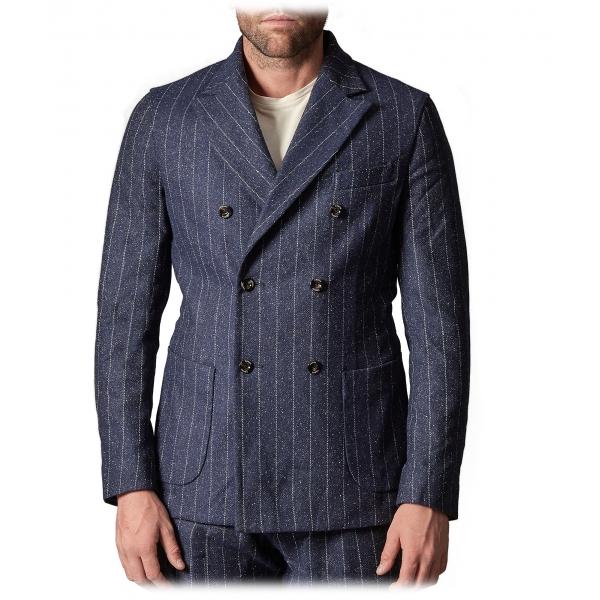 Cruna - Chelsea Jacket in Pinstripe Wool - 636 - Ardesia - Handmade in Italy - Luxury High Quality Jacket