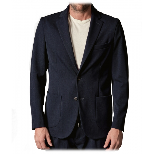 Cruna - Technical Wool Chelsea Jacket - 648 - Night Blue - Handmade in Italy - Luxury High Quality Jacket